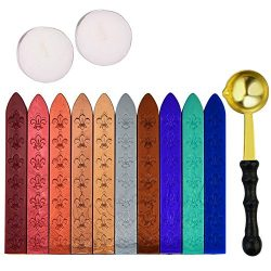 EVNEED Antique Sealing Wax Sticks Set without Wicks Retro Spoon and 2 Pcs White Candles for Retr ...