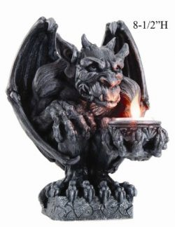 8.5 Inch Gargoyle Figurine Cold Cast Resin Candle Holder, Gray Color