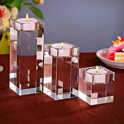 Amazing Home Candle Holders Set of 3 Pieces Elegant Heavy Crystal Cuboid Tealight Holders,Clear  ...