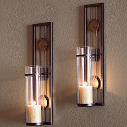 Decorative Metal Wall Sconce – Pillar Candle Holders – Elegant and Modern – Co ...