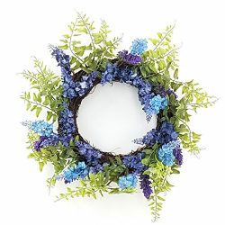 ESE LAVENDER FERN SMALL WREATH CANDLE RING, 12″, PURPLE & BLUE, SPRING ALL YEAR ROUND
