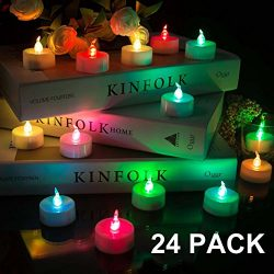 Beichi 24 Pack Color Changing LED Tea Lights, Flameless Tealight Candles with Rainbow Colors No  ...