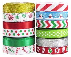 Hipgirl 60 Yard 3/8″ Grosgrain Satin Fabric Ribbon Set For Christmas, Holiday, Winter Pack ...