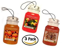 Yankee Candle FALL FAVORITES Car Jar Trio — Autumn Wreath, Spiced Pumpkin, Autumn in the P ...