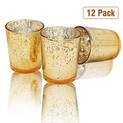 Volens glass votive candle holders, gold tealight candle holder set of 12, 2.67in height