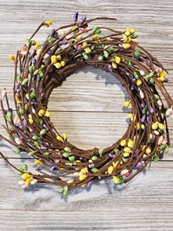Spring Mix Mini Wreath Or Candle Ring Country Primitive Floral Décor – Pink, Yellow, Light ...