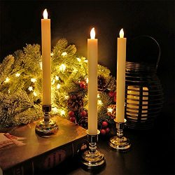 Eldnacele Flameless Flickering Candles LED Window Taper Candles with Gold Holders Set of 6, with ...