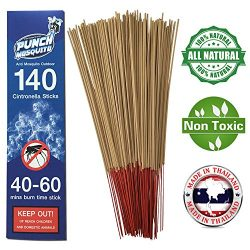 Punch Mosquito Repellent Sticks 15″ Insect Citronella Lemongrass | Burn 40-60 Mins Each |  ...