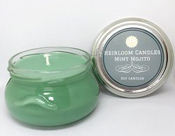 Mint Mojito Scented Soy Candle Glass Jar by Heirloom Candles 6oz