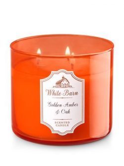 Bath and Body Works White Barn Candle 3 Wick 14.5 Ounce Golden Amber Oak 25 To 45 Hour Burn Time