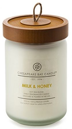Chesapeake Bay Candle Heritage Collection Large Glass Jar Scented Candle with Lid, Milk & Honey