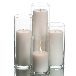 Eastland Cylinder Pillar Holder & Richland Pillar Candles White Set of 4