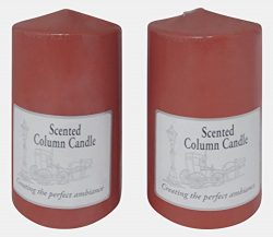 2 Pack of Scented Pillar Candles 3″x6″ Solid Core Made in the USA (Red/Spice Scent)