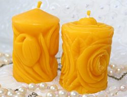 Beeswax Candles 100% Natural Organic Non Toxic Beeswax – Handmade Carved Candles – P ...