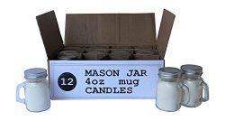 Set of 12 Bulk Wholesale Mini Mason Jar Mug Candles – 4 Ounce – Perfect For Weddings ...