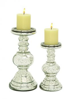 UMAC Set of 2 Silver Mercury Glass Pillar Candle Holders, Candlesticks, 12 Inches and 9 Inches High