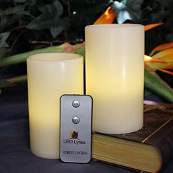 Flameless Candles Mothers Day Gifts- 2 Pale Yellow Flickering Pillars for Decorations and Partie ...