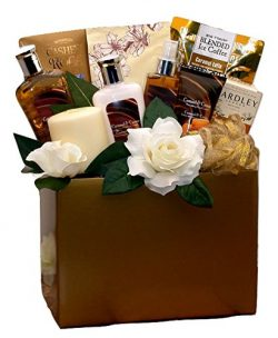Caramel and Cream Spa Gift Basket with Treats – Perfect for Birthdays, Christmas or Any Oc ...