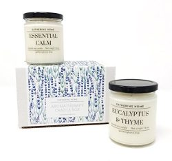 Gathering Home Aromatherapy Candles Gift Set, 2 Soy Scented Candles with Lavender and Eucalyptus ...