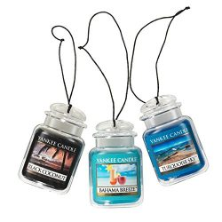 Yankee Candle Car Jar Ultimate Hanging Air Freshener 3-Pack (Bahama Breeze, Black Coconut, and T ...