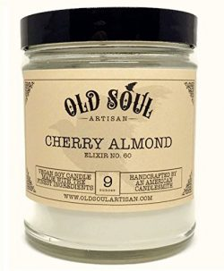Cherry Almond Amaretto Scented Vegan Jar Soy Candle – 9 oz