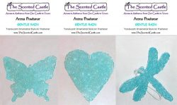 3Pack Gentle Rain Scented Air Fresheners in Butterfly, Heart, Dragonfly by The Scented Castle