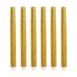 9″ Set of 6 Flameless Led Taper Candles with Timer, Battery Operated Candle with Gold Glit ...
