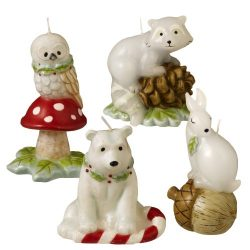 Grasslands Road Winter Wilderness Sculpted Animals Candle Assortment, 4 by 3-Inch, White, Set of 12