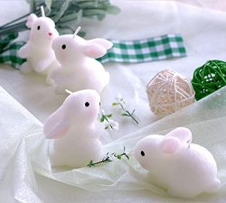 Set of 4 Lucky Rabbit Candle Cake Topper Party Decoration with Individual Gift Box Baby Shower F ...