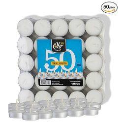 Ohr Tea Light Candles – 50 Bulk Pack – White Unscented Travel, Centerpiece, Decorati ...