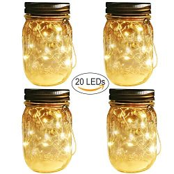 Solar Mason Jar Hanging Lights,4 Pack 20 LEDs (Mason Jar & Hanger Included) Warm White Water ...