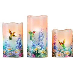 Spring Decorative LED Flameless Candle Set Trio, Garden Bliss Hummingbird Design