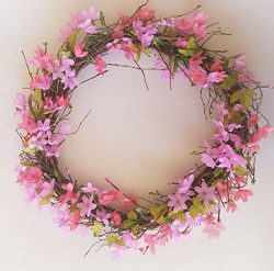 Spring Cherry Blossom Buds Vine Door Wreath Candle Ring (18″)