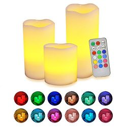 Flameless Candles with Remote, [Real Flickering & Real Ivory Color] Novelty Place Battery Po ...