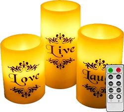 EGI – Set of 3 Flickering Flameless Candles With Remote Control and Timer – Romantic ...