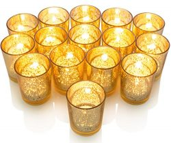 GranRosi Classy Votive Candle Holders Set of 15 – Made Of Mercury Glass With A Speckled Go ...