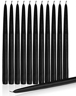 Elegant Dripless Taper Candles 10″ Inch Tall Wedding Dinner Candle Set Of 12 (BLACK)