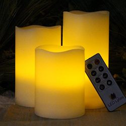 Flameless Candles Battery Operated LED – Set of 3 Round Ivory Wax With Flickering Amber Ye ...