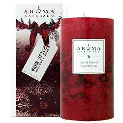 Aroma Naturals Holiday Essential Oil Scented Pillar Candle, Orange, Clove and Cinnamon, Warm Spi ...