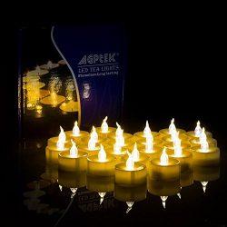 AGPtek 100 Battery Operated LED Amber Flameless Flickering Flashing Tea Light Candle