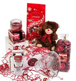 Gift Basket For Women – Lindt Lindor Truffles, Teddy Bear, Glass Bowl, Scented Soy Candle, ...