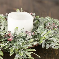 Factory Direct Craft Pair of Artificial Frosted And Berry Fern Candle Rings for Holiday and Home ...