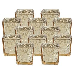 Just Artifacts Mercury Glass Square Votive Candle Holder 2.25″H (12pcs, Speckled Gold)  ...