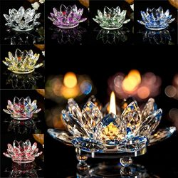 Home Decor Candleholder,Crystal Glass Lotus Candle Holders Creative Decoration for Home Decorati ...