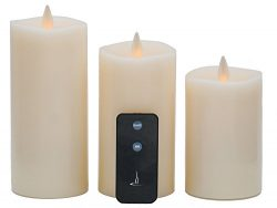 QBA Flickering Flameless Candle,Mother's Day Gift LED Pillar Candle Set of 3(D 3″ x  ...