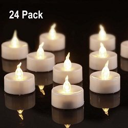 Beichi 24 Pack Flameless LED Tea Lights, Battery Powered Fake TeaLights with Warm White Flickeri ...