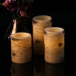 Antizer Flameless Candles With The effect Of Birch Bark Set Of 3 Include 10 Key Remote Control W ...