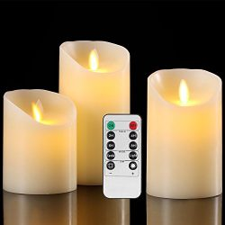 Flameless Candles Battery Operated Pillar Real Wax Flickering Moving Wick Electric LED Candle Gi ...