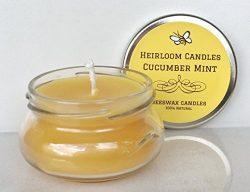 Cucumber Mint Beeswax Candle – Pure Organic Beeswax – Handmade, 3.3oz