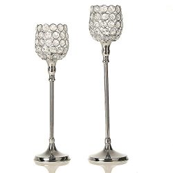 VINCIGANT Silver Crystal Candlesticks Sets for Wedding Home Mothers Day Decor Gifts,14.6 & 1 ...